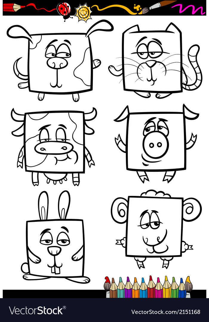Cute animals cartoon coloring book