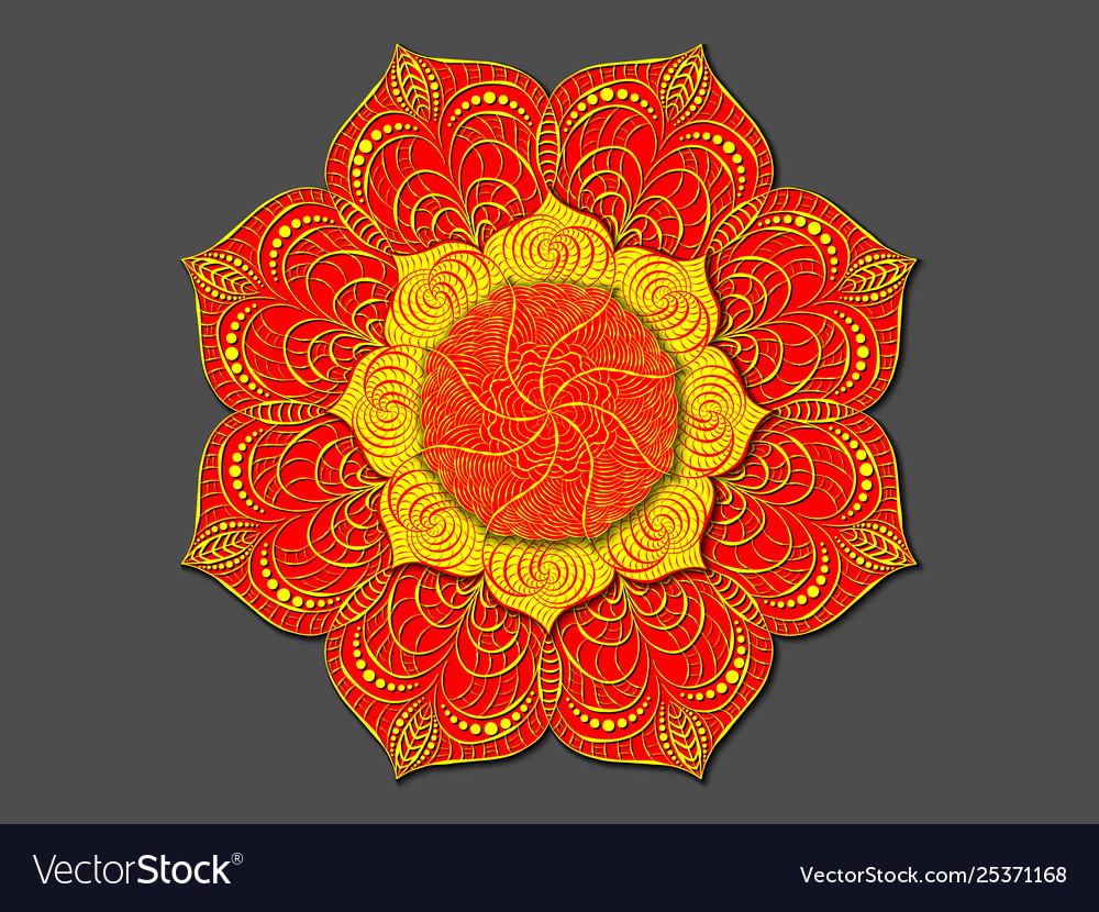 Decorative colored mandala radial volumetric