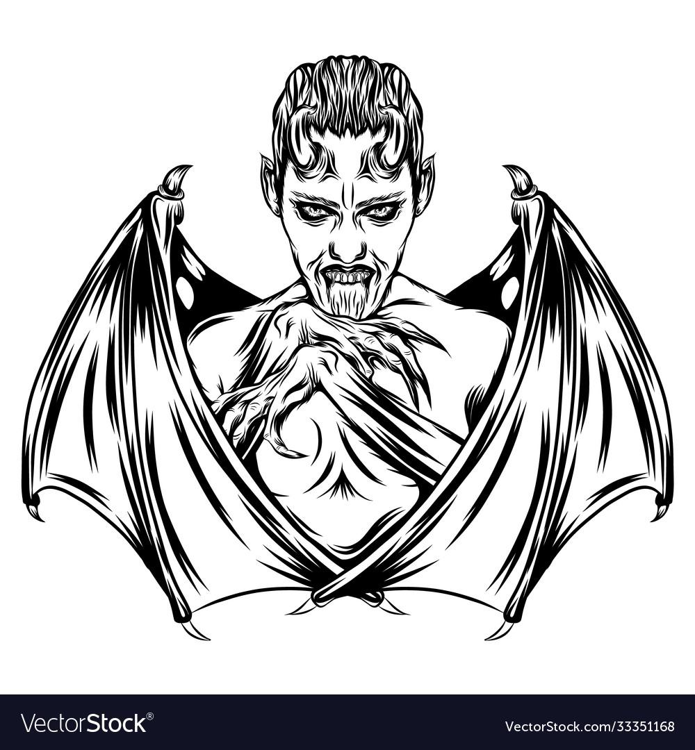 Dracula boy with sharp wings bat