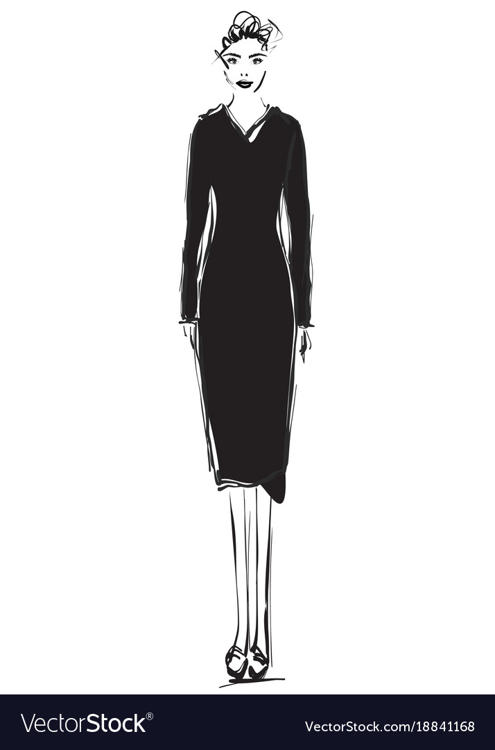 Fashion models sketch cartoon girl black dress