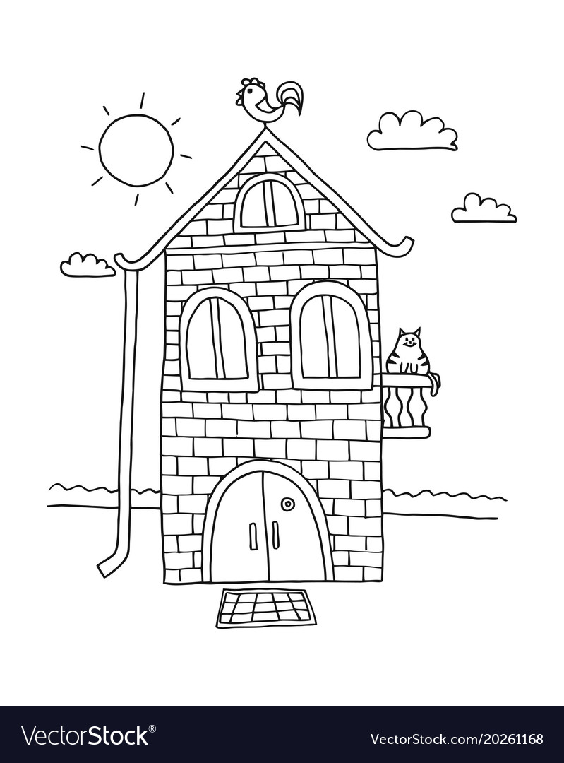 Hand Drawn Home Villa House Coloring Book For Vector Image