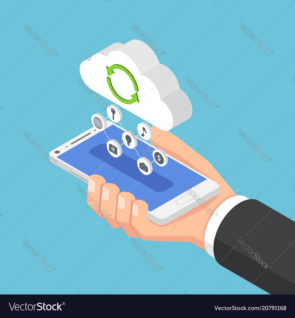 Isometric businessman holding smartphone and send