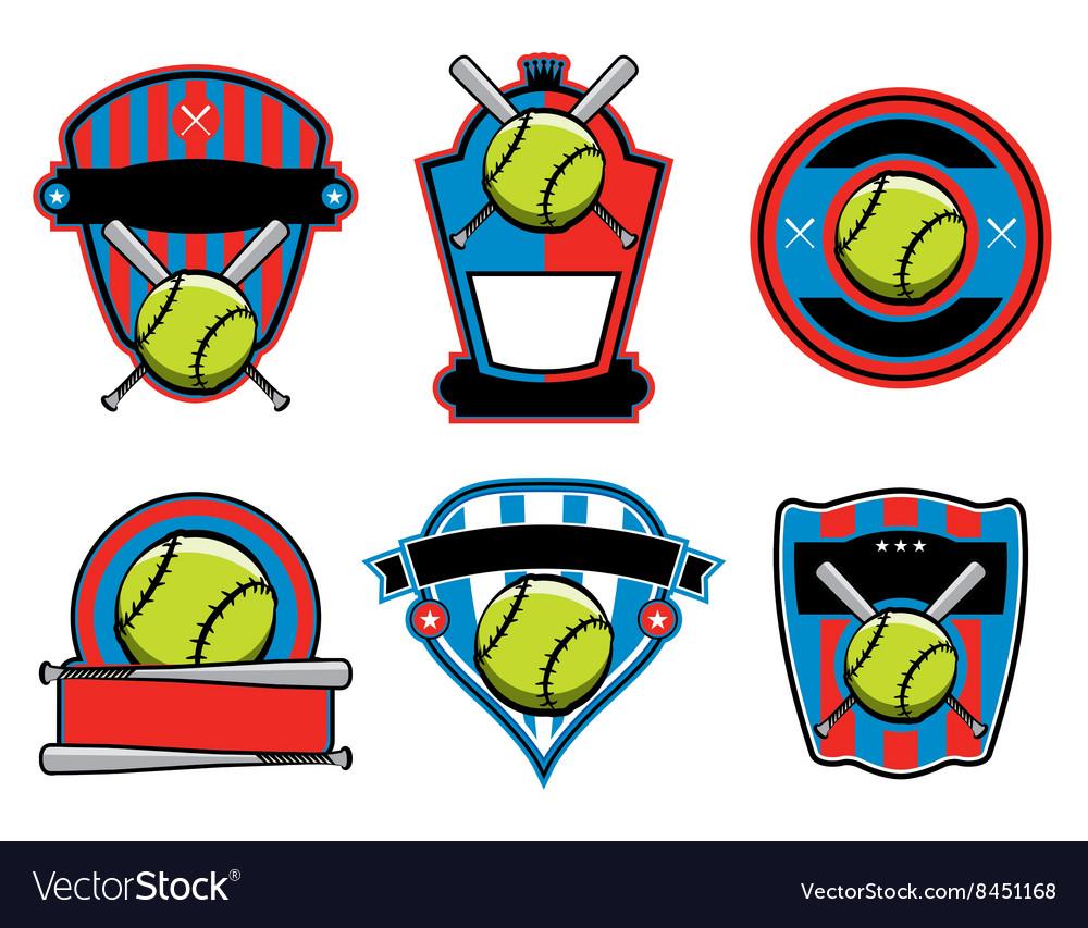 Softball Badges and Emblems vector image