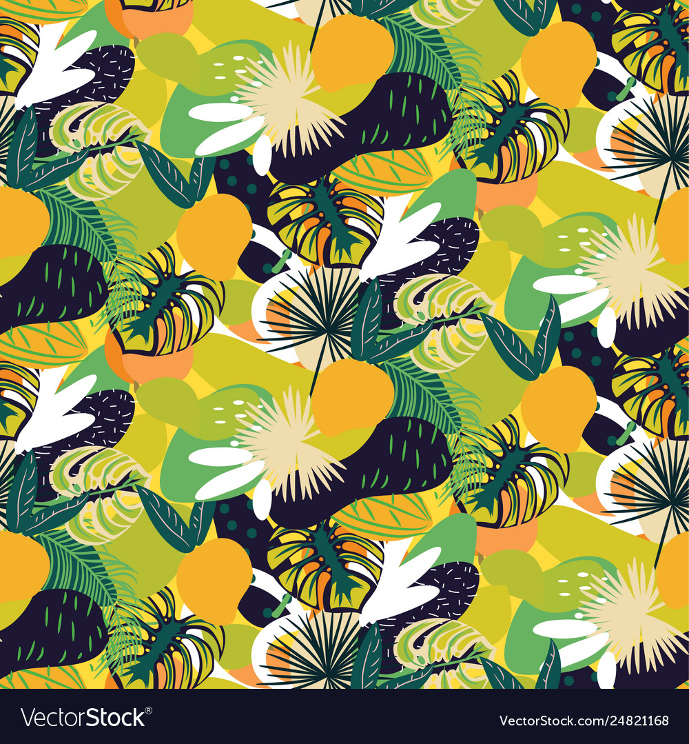 Tropical fruits seamless juicy pattern green
