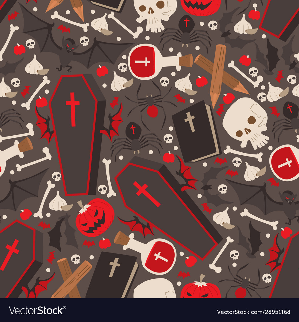 Vampire icons in seamless pattern