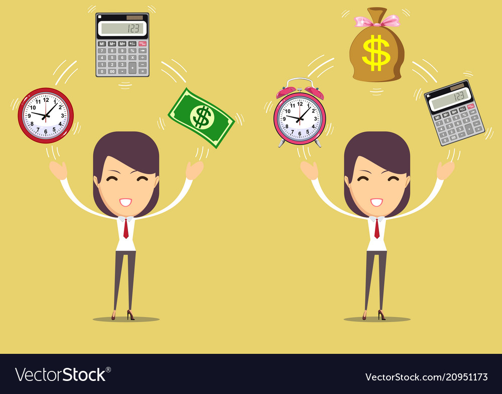 Accountant at worktime is money concept