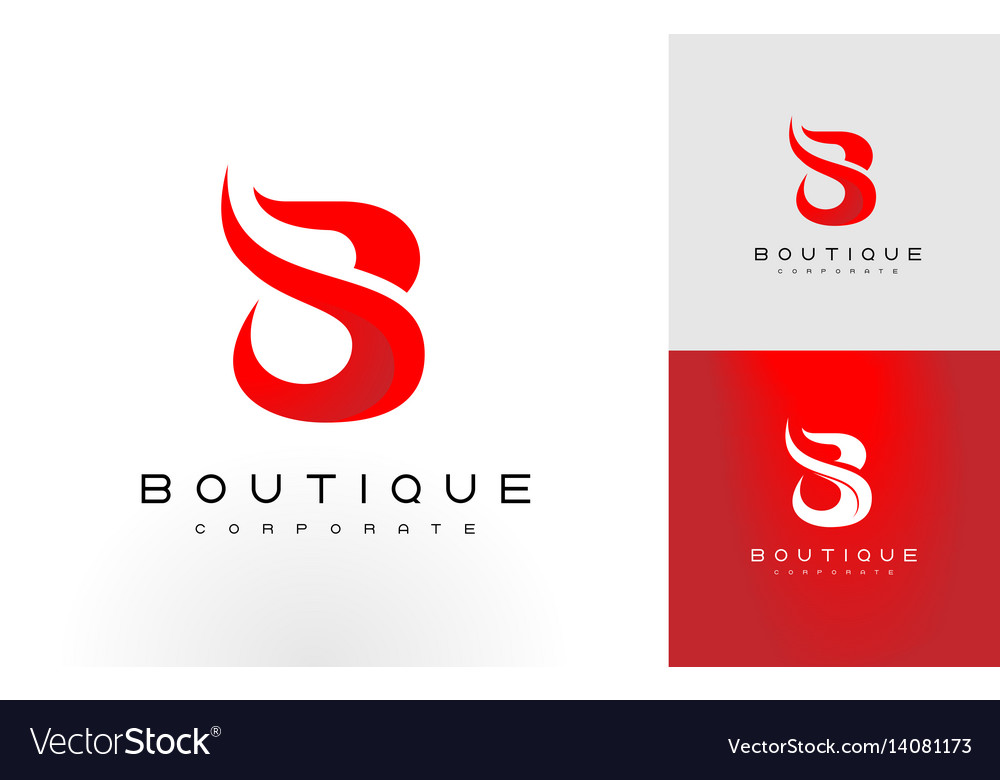 B logo red b letter icon design vector image