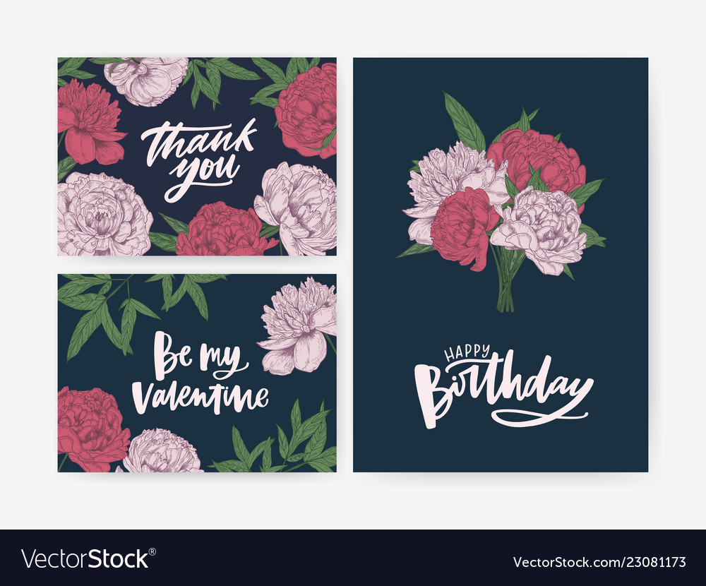 Bundle Of Birthday And St Valentines Day Greeting Vector Image