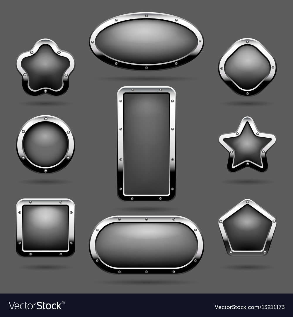 Chrome frames or metal panel buttons