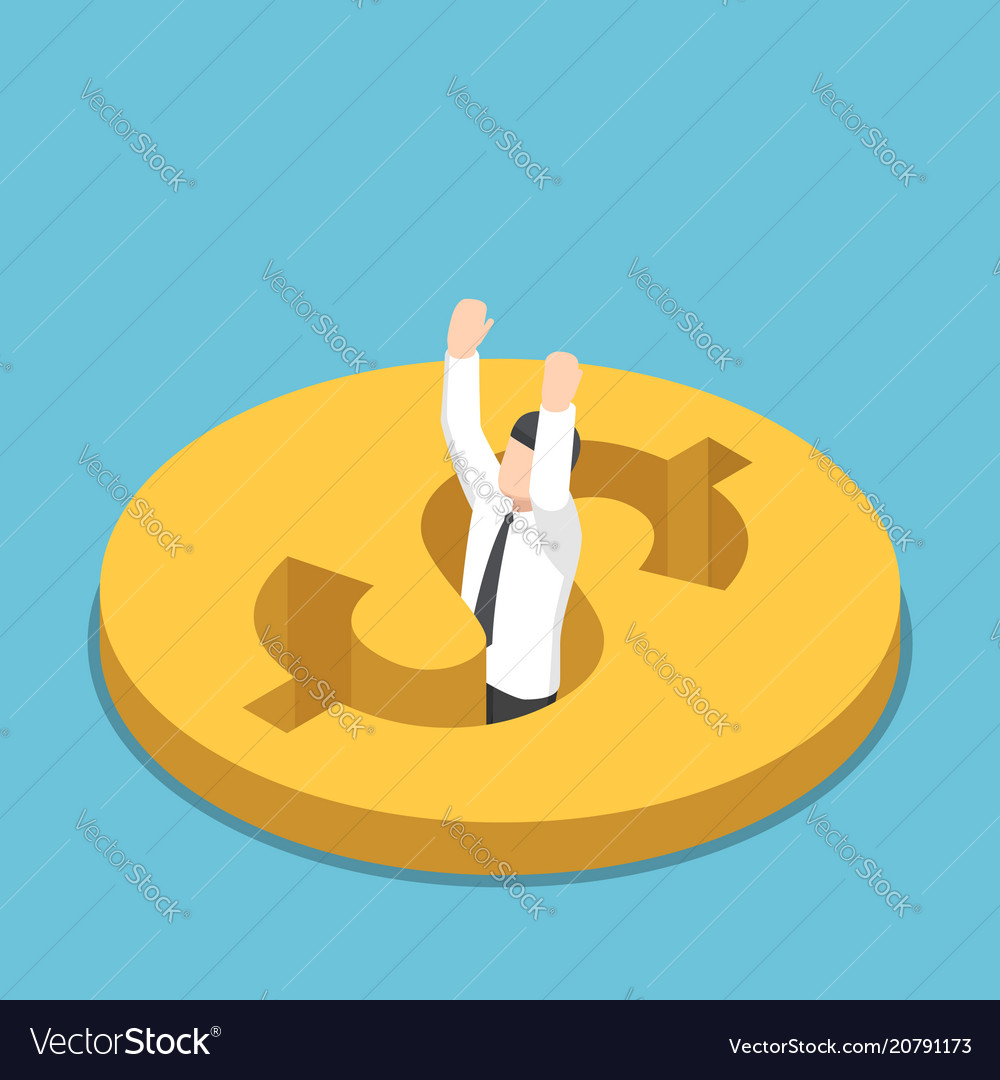 Isometric businessman falling into the hole on