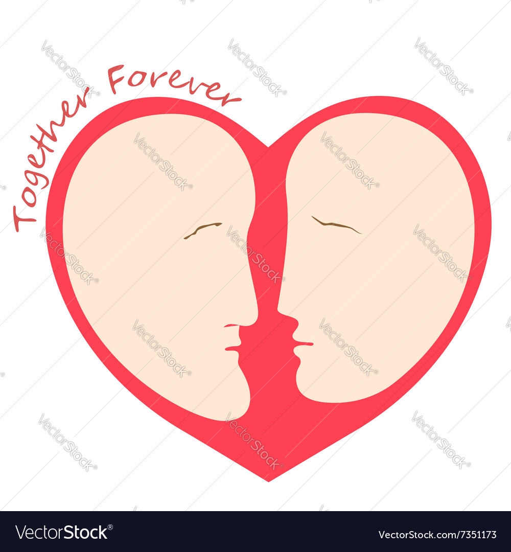 Romantic female and male faces in form of heart