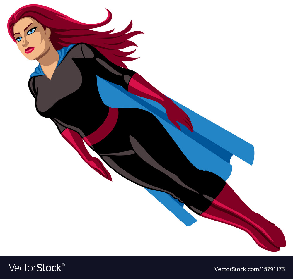 Super heroine flying vector image