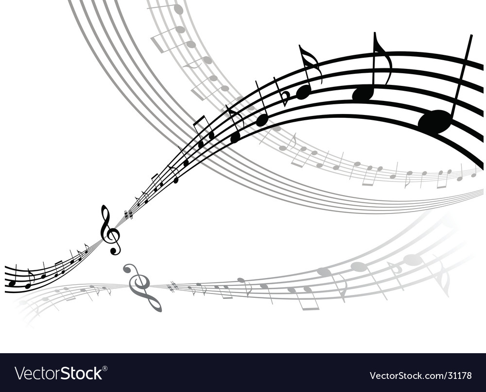 Abstract musical lines with notes vector image