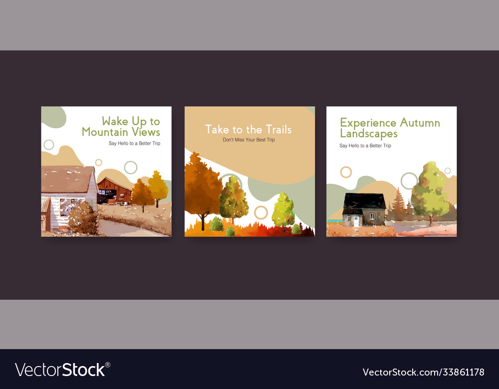 Ads template with landscape in autumn design