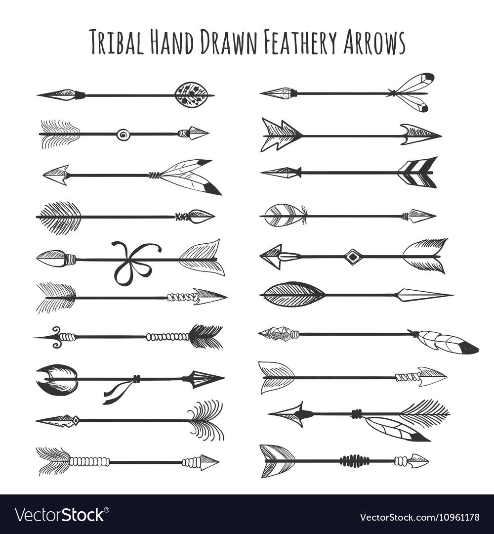 American indian arrow icons vector image