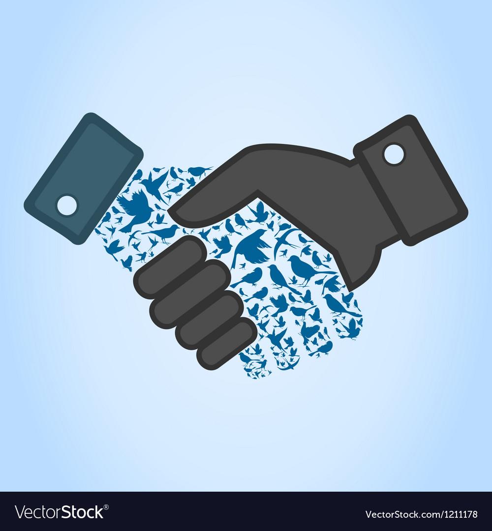 Bird hand shake