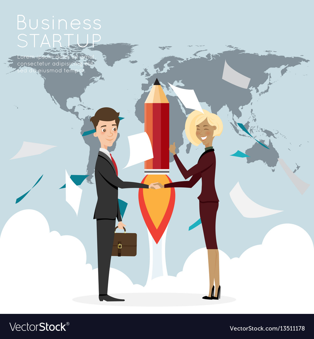 Businessman handshake with worldmap for start up vector image