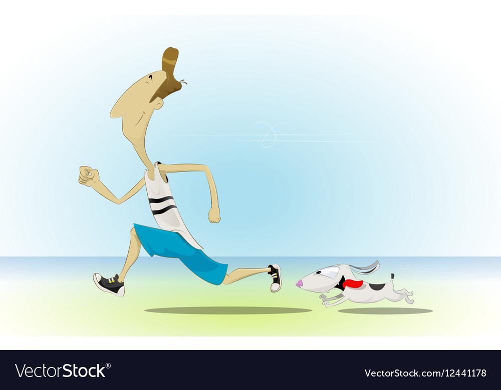 Cartoon man running with his little dog