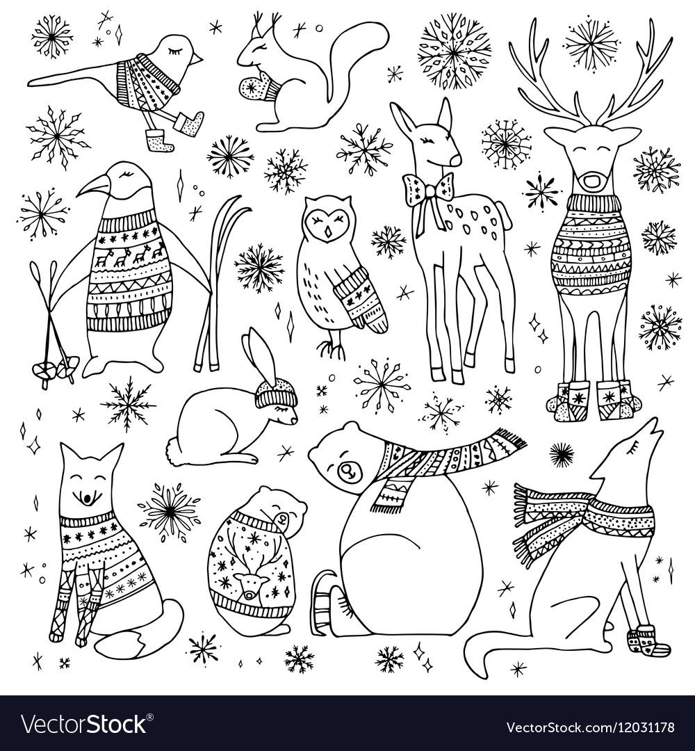 Christmas animals set