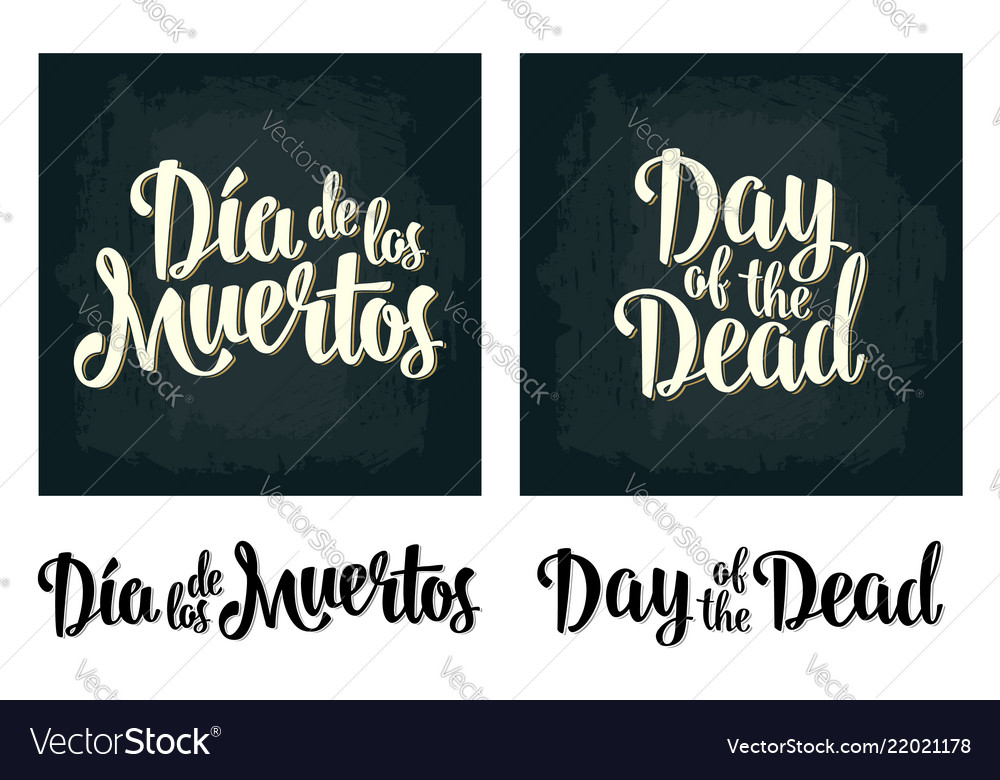 Day of the dead vintage white lettering on