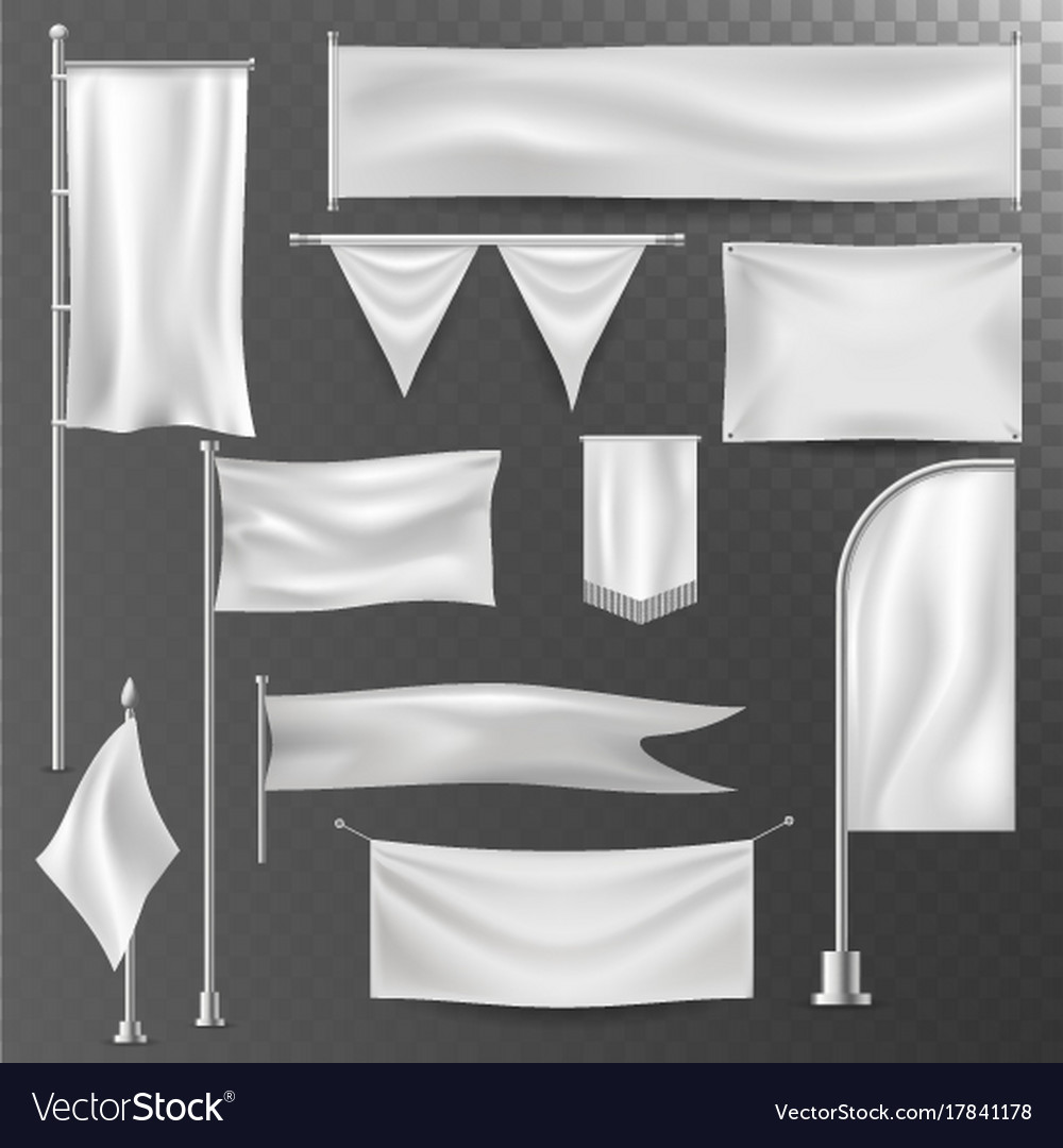 Different realistik flag template white blank