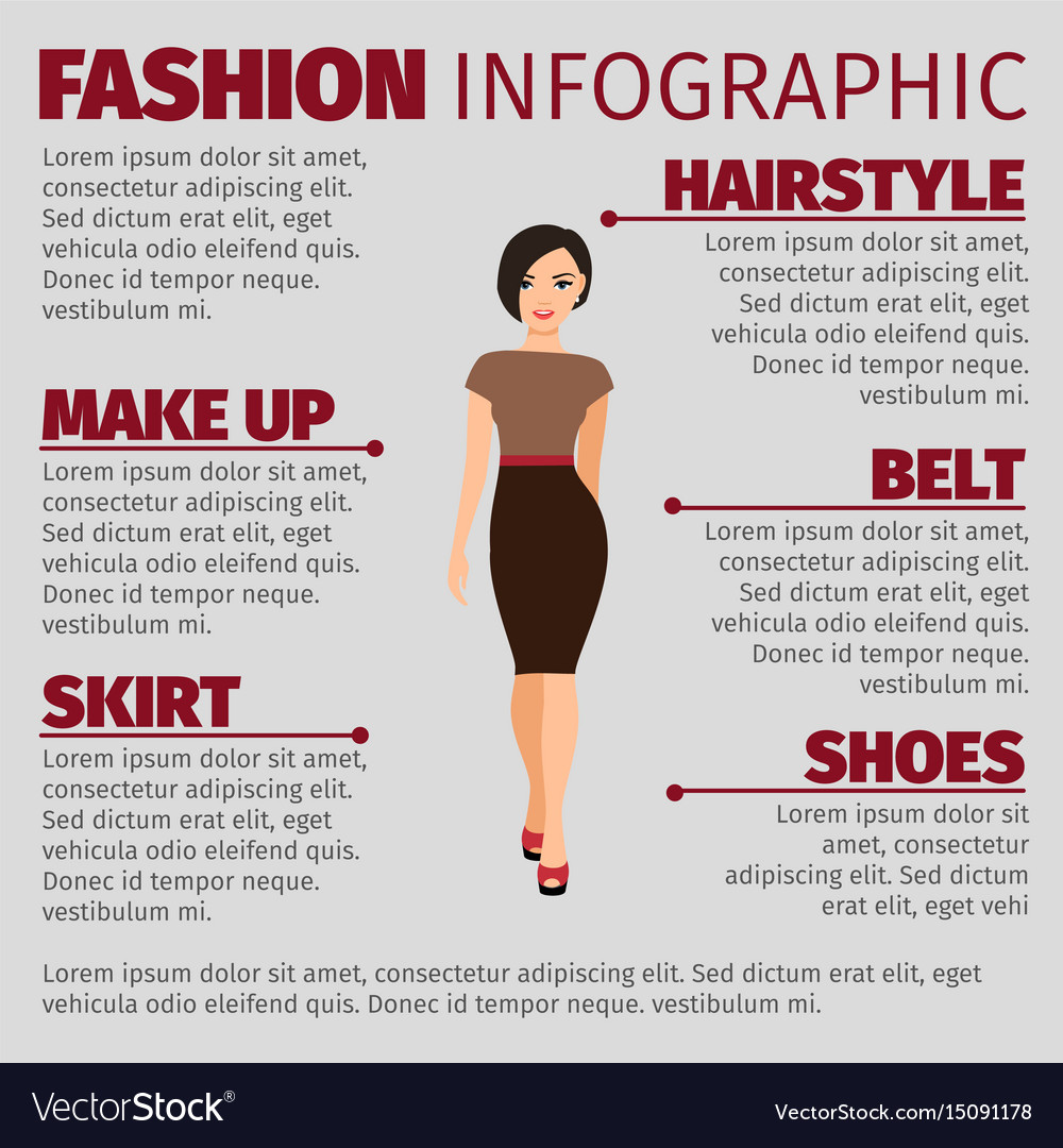 Girl in brown dress fashion infographic vector image