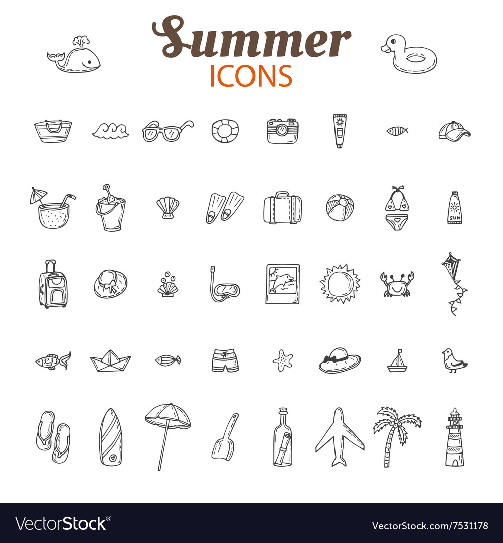 Hand drawn summer icon set Beach icons collection