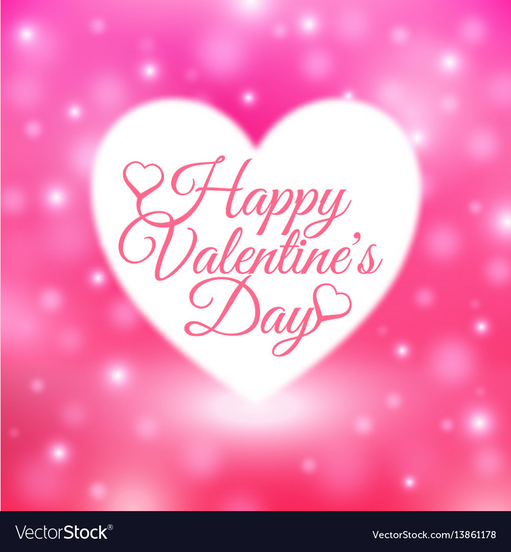 Happy valentines day card with pink background