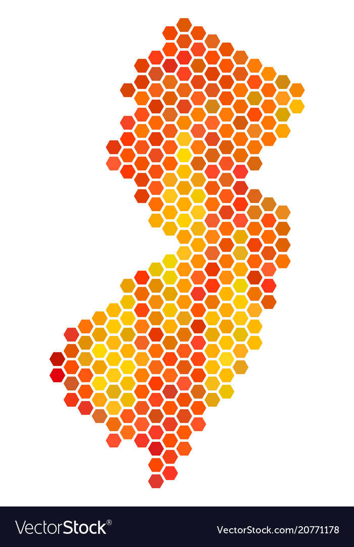 Hot Hexagon New Jersey State Map Royalty Free Vector Image