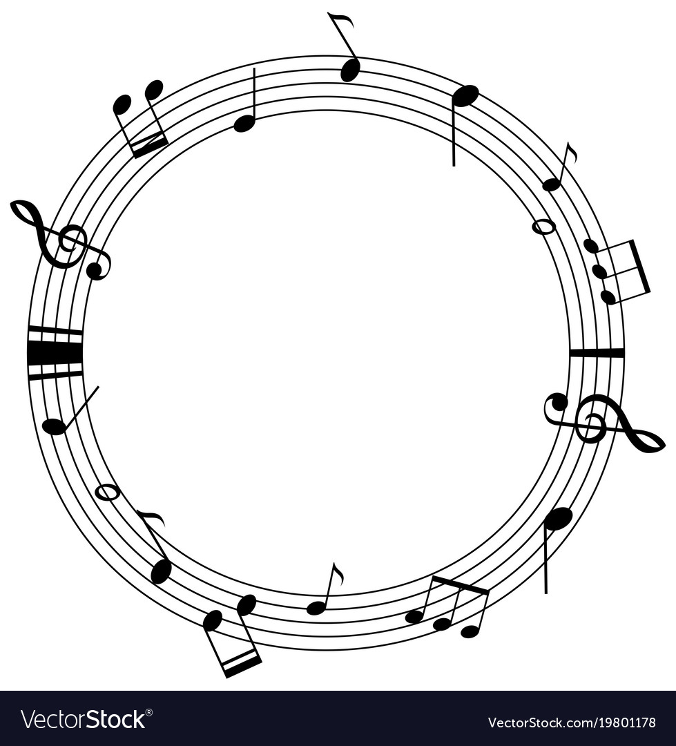 round frame template with music notes on scales vector image