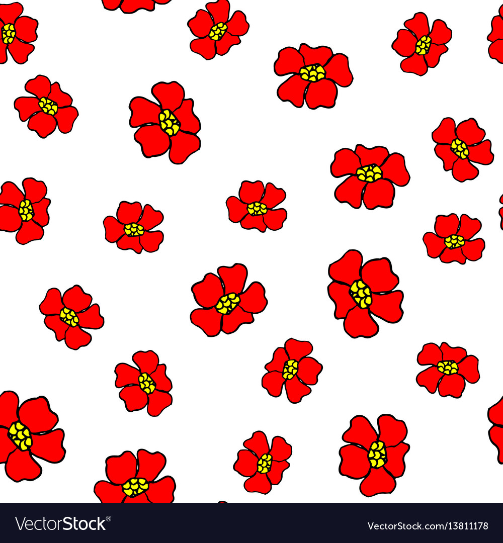 Seamless pattern with abstract red flowers
