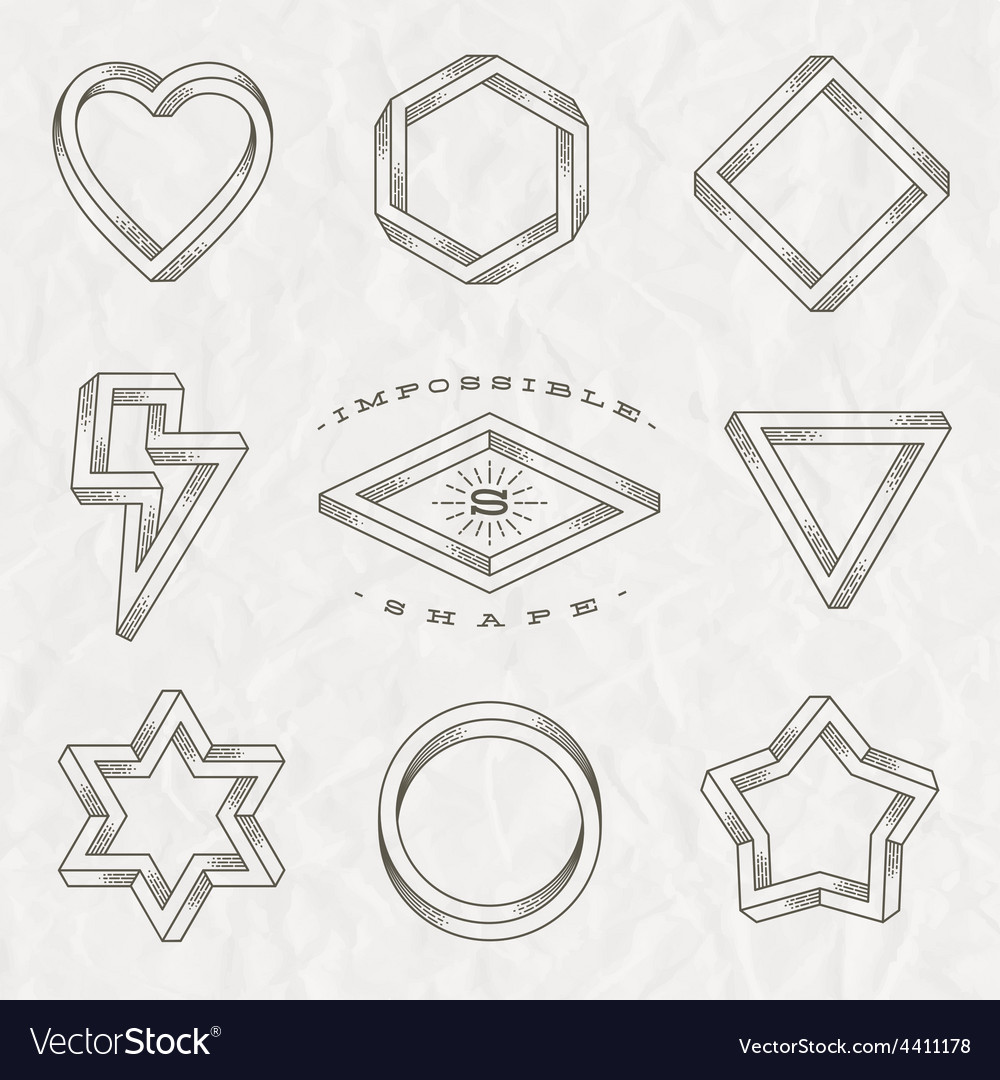 Set of line art tattoo style impossible shapes