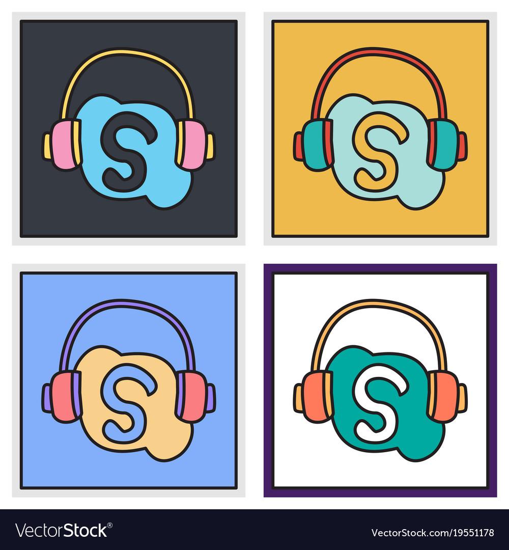 Set of unusual look skype logo