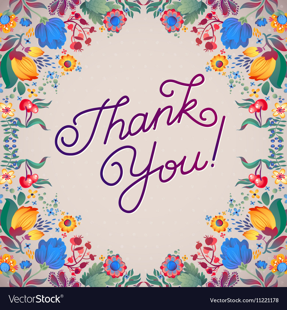 Thank You Abstract Floral Background Callygraphy