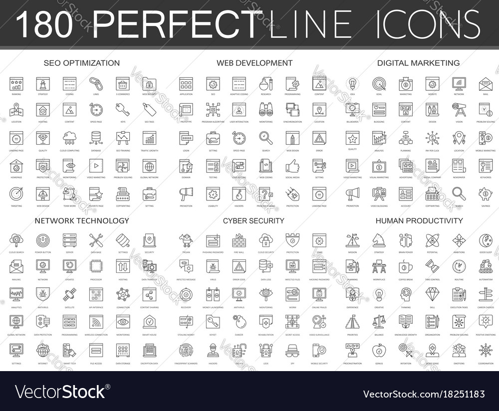 180 modern thin line icons set of seo optimization vector image