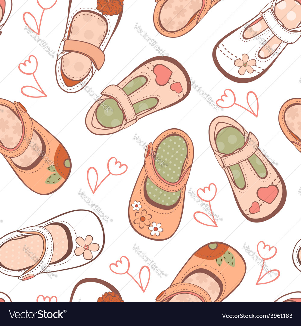 Baby girl shoes pattern vector image