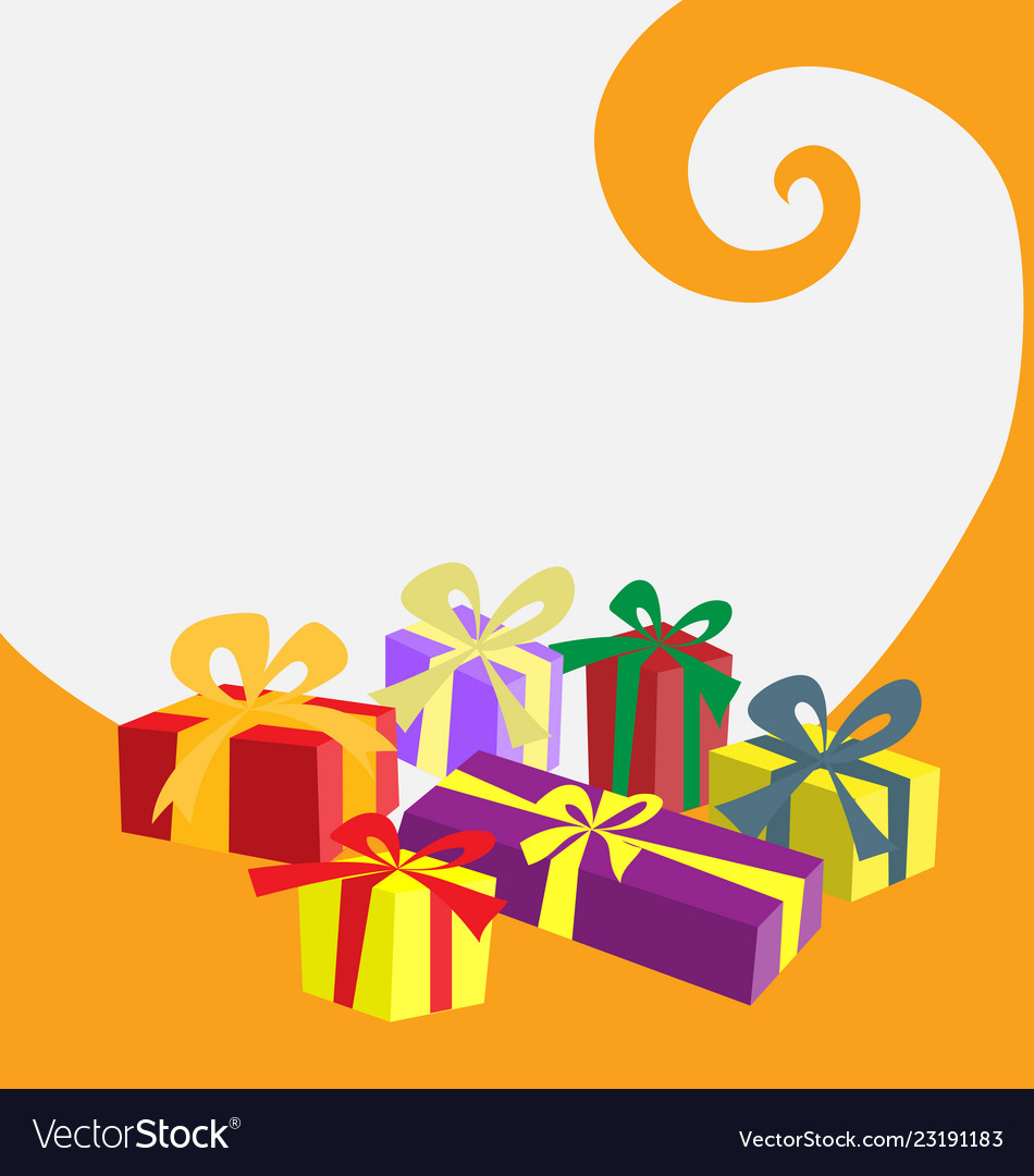 Gift box in colors on white and orange background