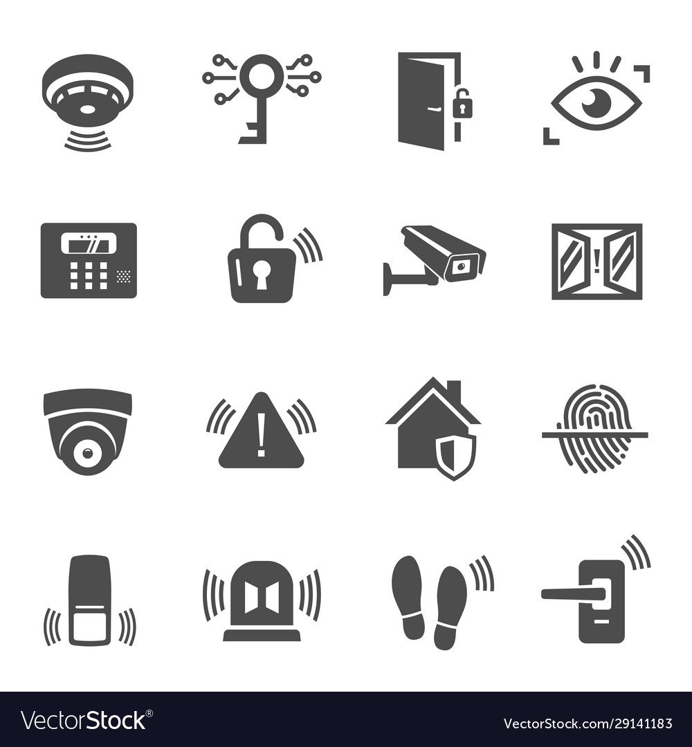 Home security house protection glyph icons set
