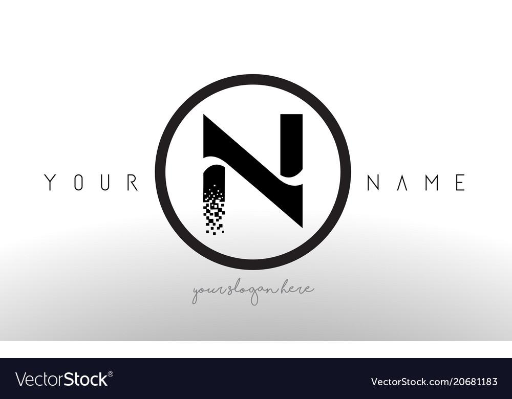 N logo letter with digital pixel tech design