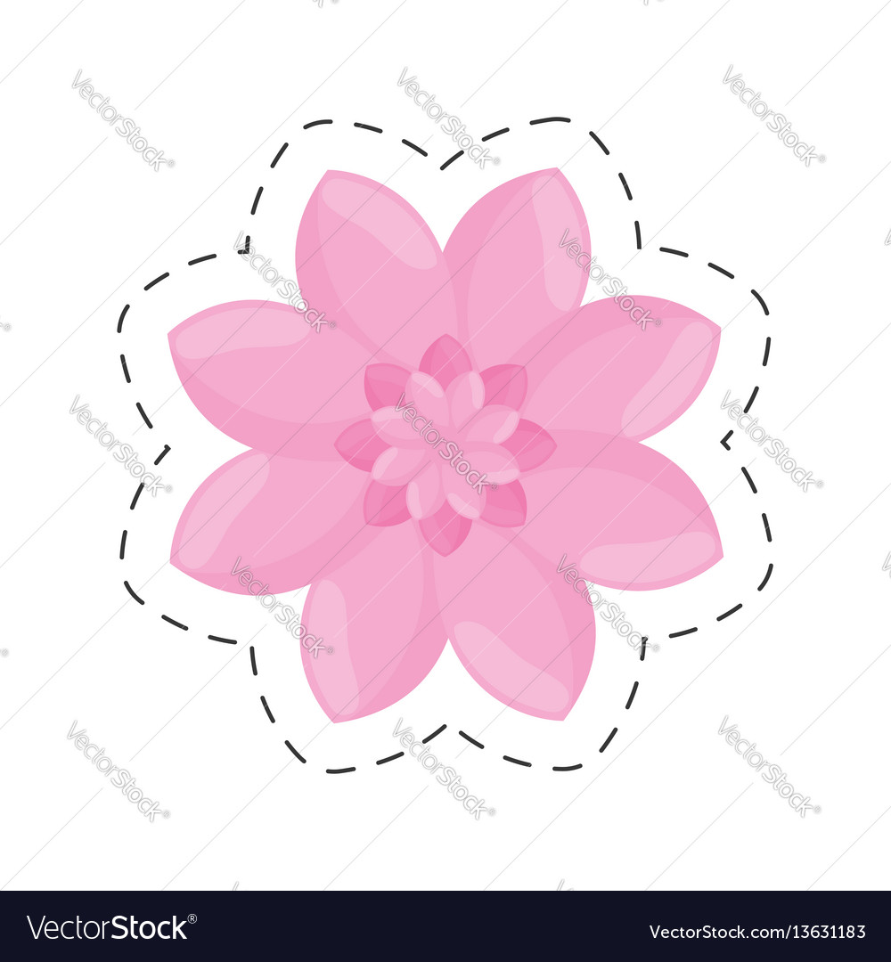 Pink flower garden decoration color cut line