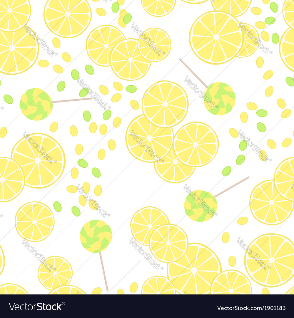 Seamless pattern of yellow lemon slices and candy
