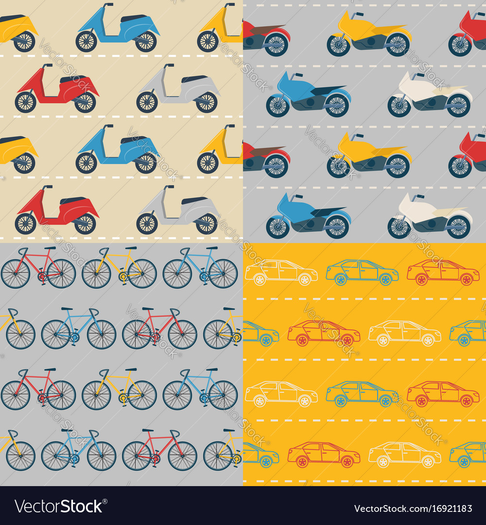 Set of seamless patterns with colorful transport