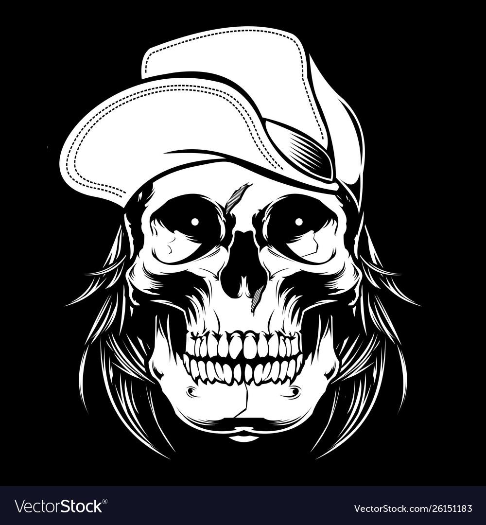Skull wearing cap hand drawingshirt designs