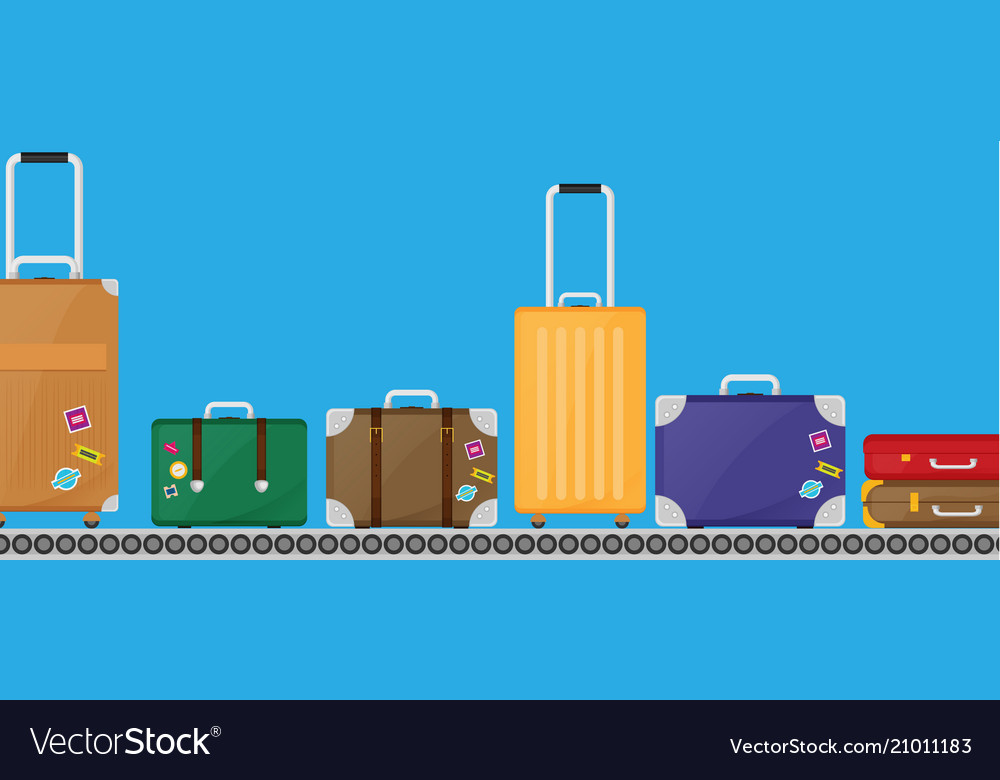 Suitcase set on conveyor belt