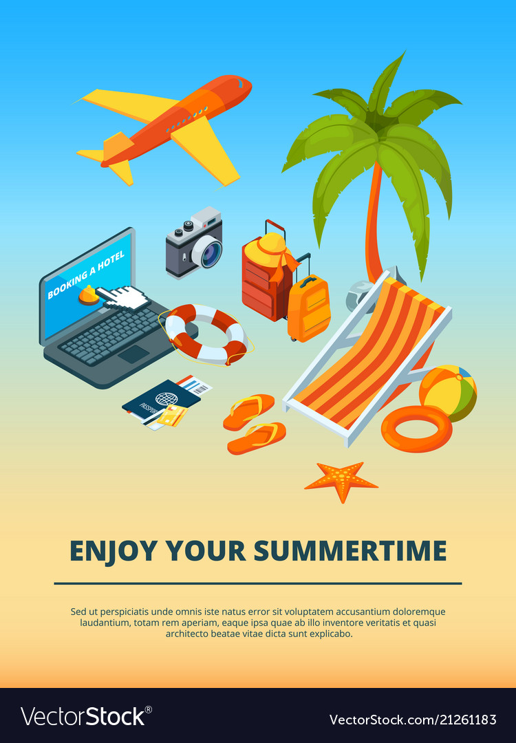 Travel background summer time various objects