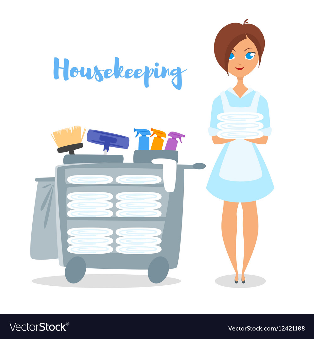 cartoon style of hotel housekeeper royalty free vector image