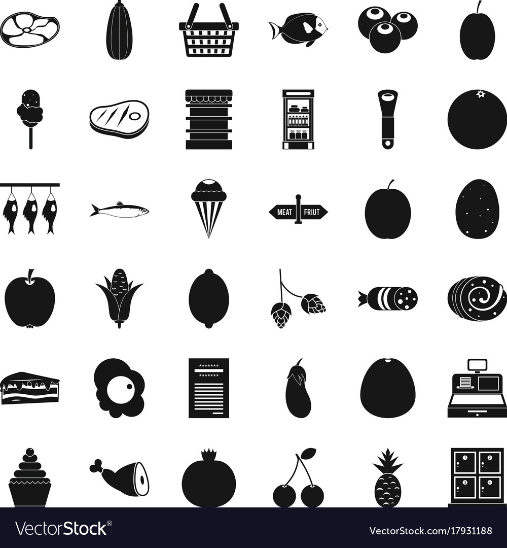 cash register icons set simple style royalty free vector