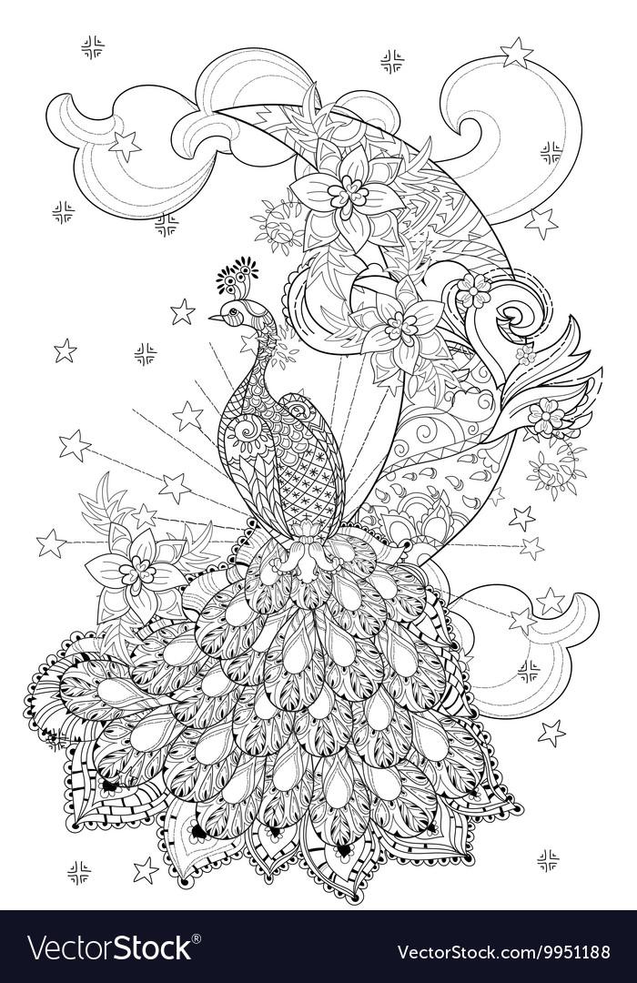 Cute peacock on christmas half moon