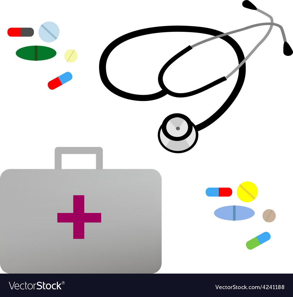 Flat stethoscope first aid kit and