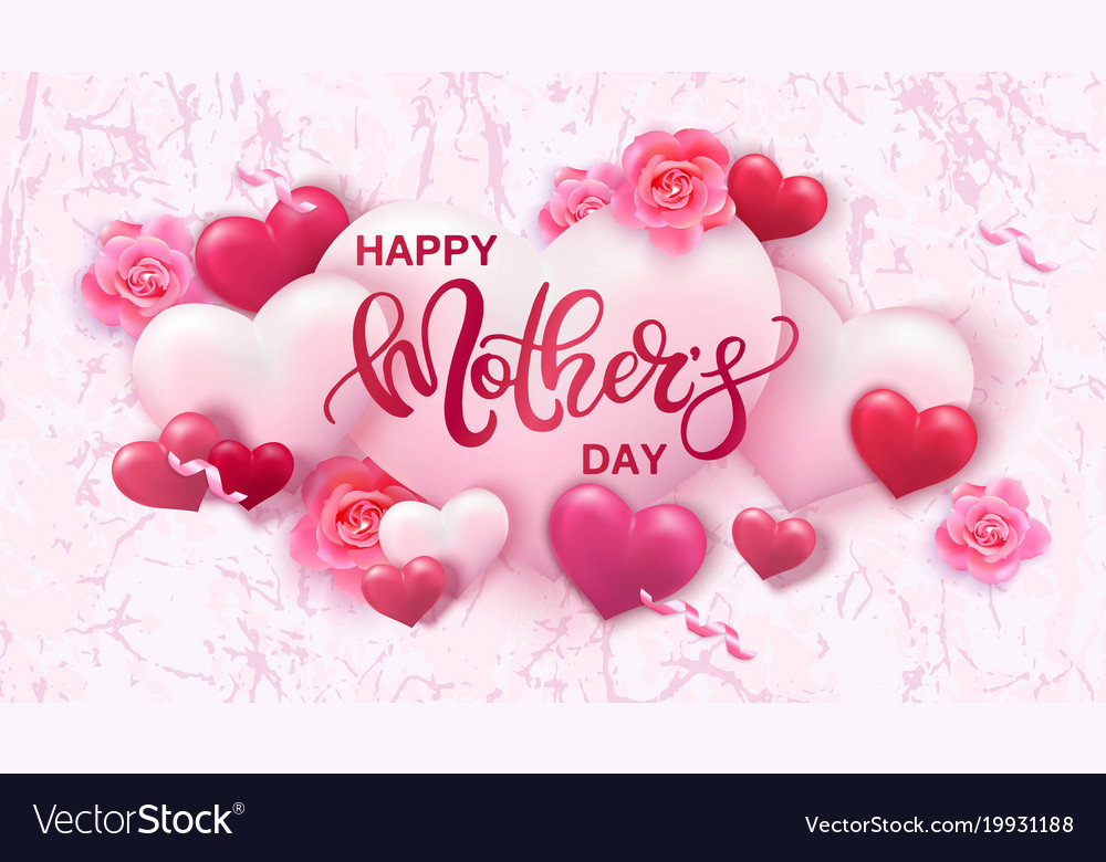happy mothers day background with hearts vector image